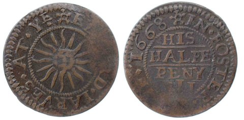 London (1124), Foster Lane, Edward Jarves at Ye Sun, Halfpenny, 1668