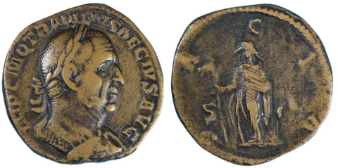 Roman Empire, Trajan Decius (249-251), Sestertius, Dacia on rev.