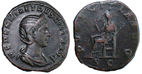 Roman Empire, Herennia Etruscilla, Sestertius, Pudicitia on rev.