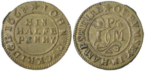 Hampshire (177), Romsey, John Puckridge, Halfpenny, 1668