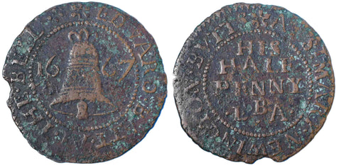 Surrey (188), Newington Butts, Edward Batt, Halfpenny, 1667