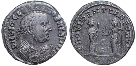 Roman Empire, Diocletian (284-305), post-abdication issue, Follis of Alexandria, PROVIDENTIA DEORVM