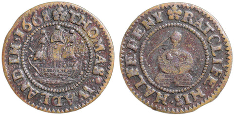 London (2372), Ratcliff, Thomas Wadland, Halfpenny, 1668