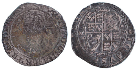 S.2811. Charles I (1625-1649) Sixpence with CR retrograde and inverted.