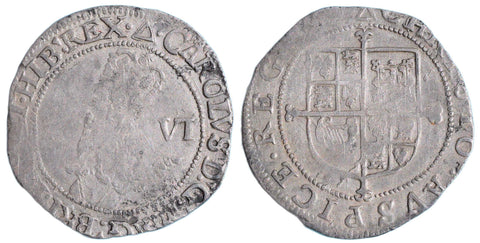 S.2816. Charles I (1625-1649), Sixpence, Group E, mm triangle