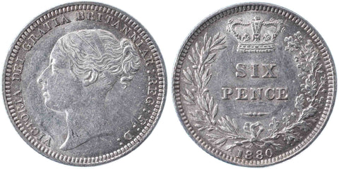 S.3911. Victoria (1837-1901), Sixpence, 1880.  Second head.