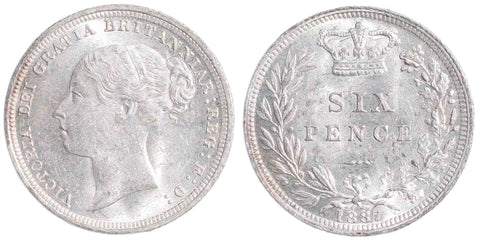 Victoria (1837-1901), Sixpence, 1887, Young Head