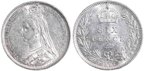 Victoria (1837-1901), Sixpence, 1887, Jubilee Head, Wreath Type