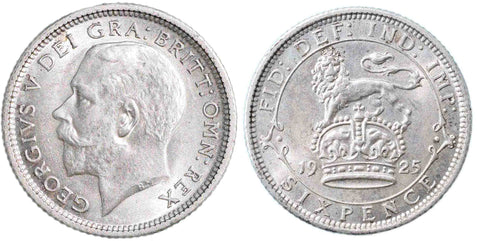 S.4025.  George V (1910-1936), Sixpence, 1925, broad rim