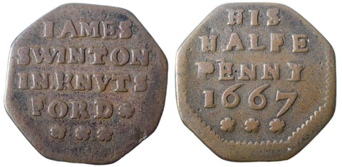 Cheshire (50), Knutsford, James Swinton, Octagonal Halfpenny, 1667