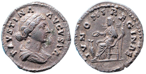 Roman Empire, Faustina Junior under Marcus Aurelius (161-175), Denarius, Juno on rev.