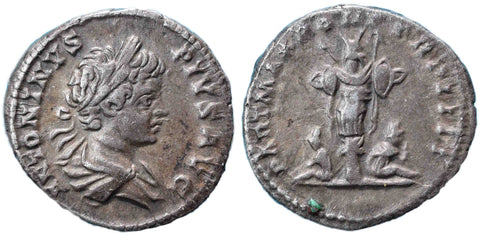 Roman Empire, Caracalla (198-217), Denarius, trophy and two captives on rev.