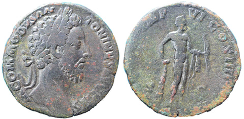 Roman Empire, Commodus (177-192), Sestertius, Hercules on rev.