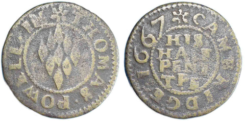 Cambridgeshire ( 73), Cambridge, Thomas Powell, Halfpenny, 1667