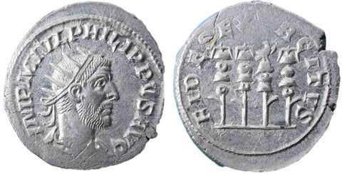 Roman Empire, Philip I (244-249), Antoninianus, four standards on rev., RCV 8931