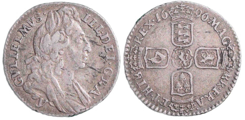 S.3525. William III (1694-1702), Sixpence, 1696.  First bust, large crowns, York (y).