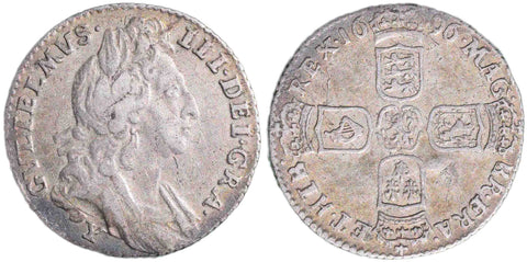 S.3526. William III (1694-1702), Sixpence, 1696.  First bust, large crowns, York (Y).