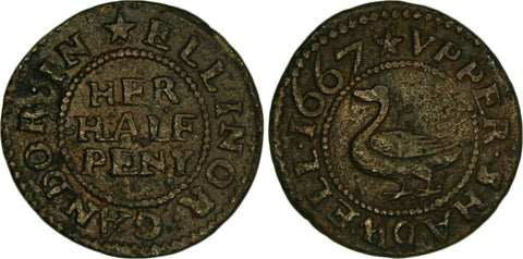 London (Mx.180), Upper Shadwell, Ellinor Gandor, halfpenny, 1667