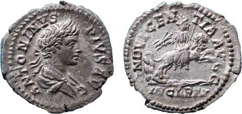 Roman Empire, Caracalla (198-217), Denarius, Indulgentia on rev.  RSC 97.