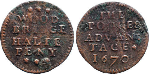Suffolk (357), Woodbridge, Town Halfpenny, 1670