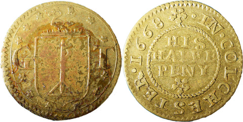 Essex (153), Colchester, G.T., Halfpenny, 1668