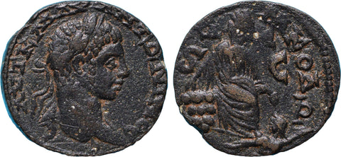 Roman Empire, Elagabalus (218-222), AE25 of Antioch, Tyche seated r.