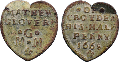 Surrey ( 39), Croydon, Mathew Glover, heart-shaped Halfpenny, 1668