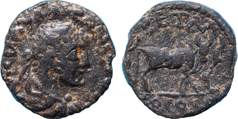 Roman Empire, Elagabalus (218-222), AE20 of Petra, Oxen on rev.