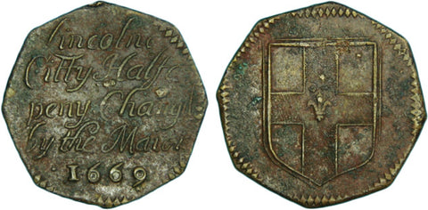 Lincolnshire (138, N.2953), Lincoln, City Halfpenny, 1669