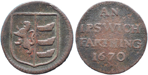 Suffolk (158, N.4352), Ipswich, Borough Farthing, 1670