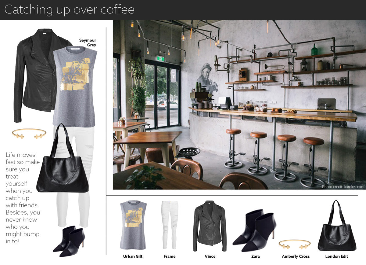 coffee date outfit - embrace life in our gold printed women's t-shirt