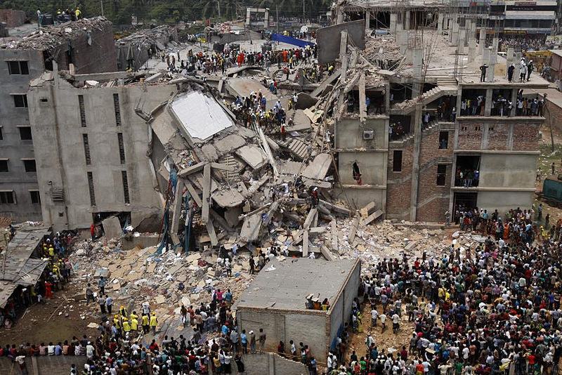 collapsed rana plaza building - the true cost of fashion
