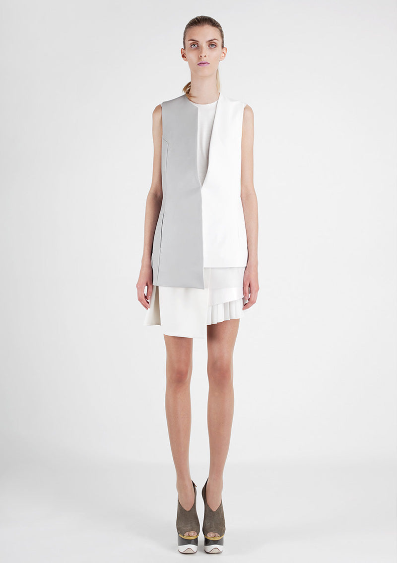 Patrick Li minimalist white and grey dress - what is minimal style with an edge