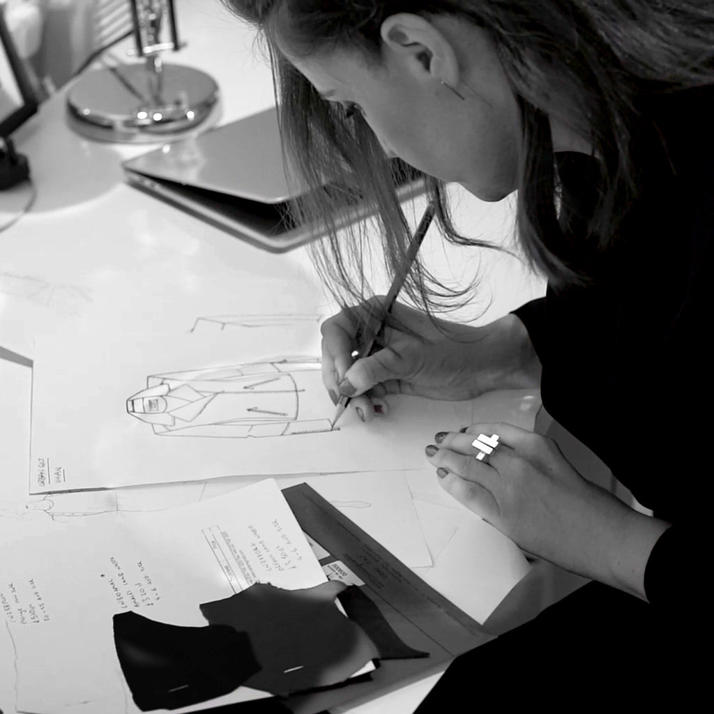 passion for design - our founder drawing a fashion sketch of the vivian leather biker jacket