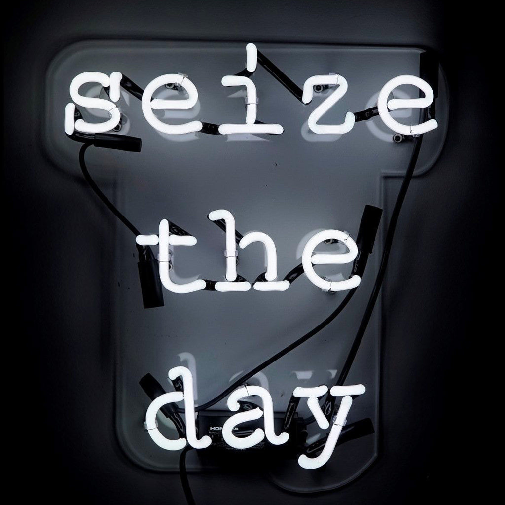 neon quote - seize the day