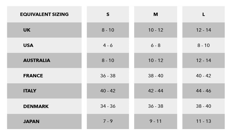 Urban Gilt Size Guide Equivalent Sizing