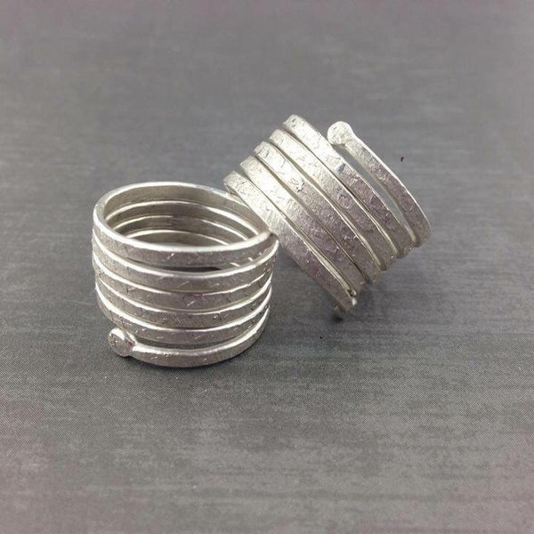 Twisted Ring - Satin White Silver Finish