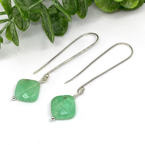 Chrysoprase Cube Sterling Silver Earrings