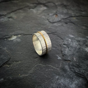 Endless Ring - 14K solid gold band on sterling silver band