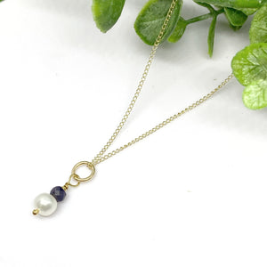 Birthstone Pearl Gemstone Drop Necklace - 14k gold filled