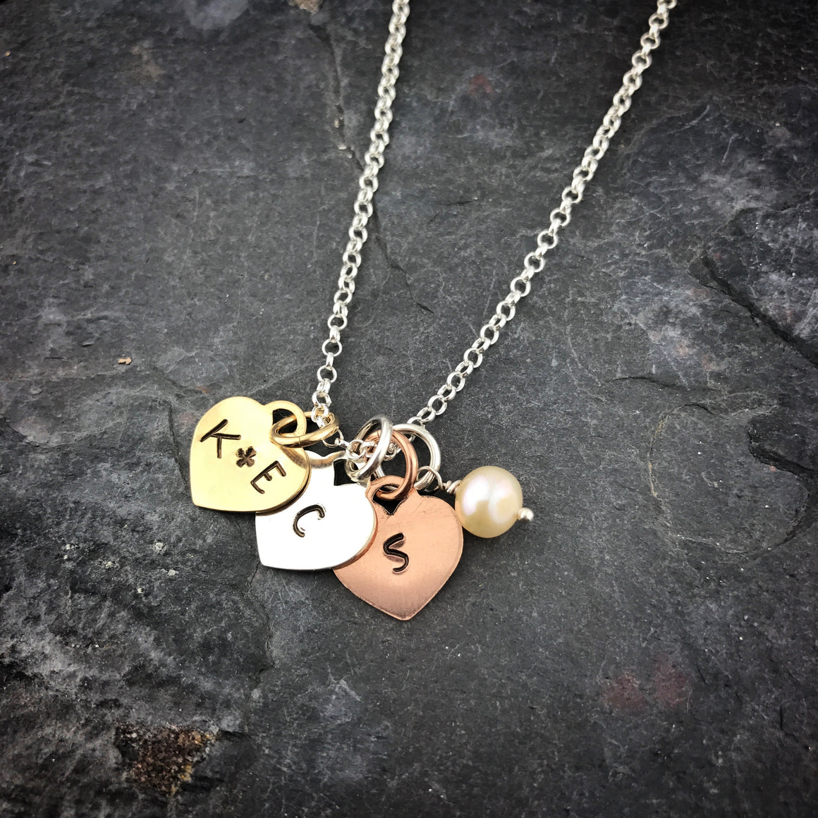 Tri Colored Heart Stamped Necklace - Personalized