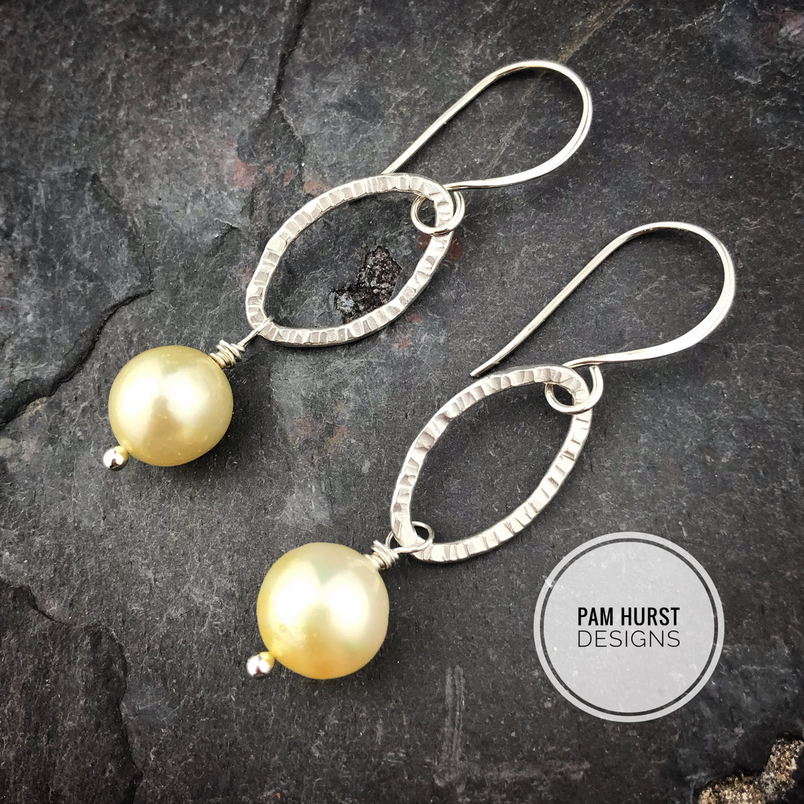 Oval South Sea Pearl Sterling Silver Earrings