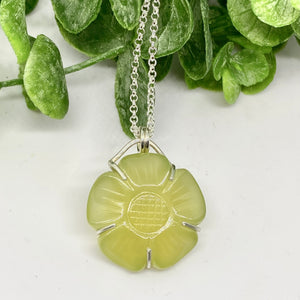 Lemon Chalcedony Flower Necklace