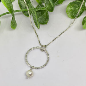 Circle of Wisdom-Sterling Silver Pearl Necklace