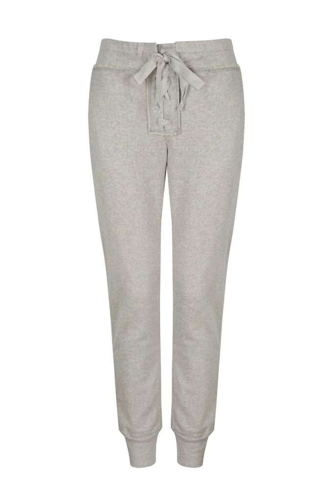Organic Cotton Lace Up Sweatpants in Heather Grey