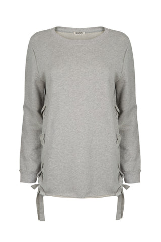 Organic French Terry Lace Up Sweater in Heather Grey