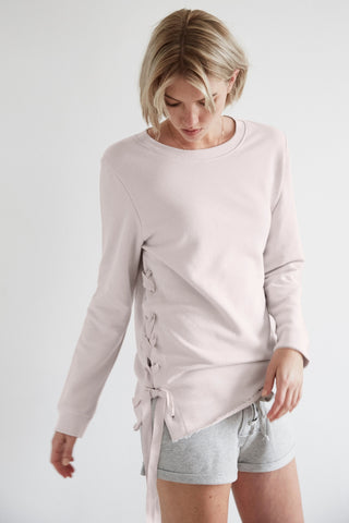 Organic French Terry Lace Up Sweatshirt in Dusty Pink