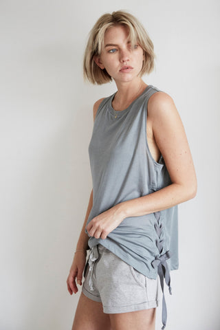 Organic Lace Up Tank in Cool Grey