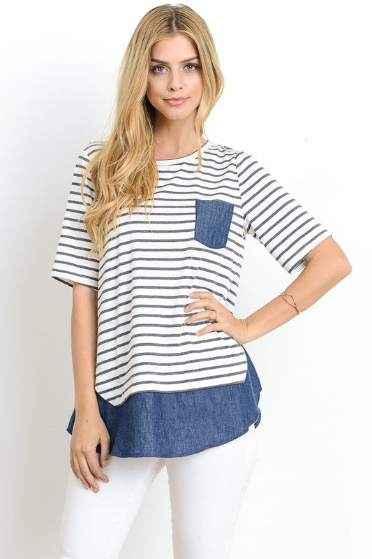 Diane Chambray Pocket Top