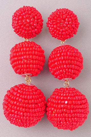 Triple Beaded Drop Earrings
